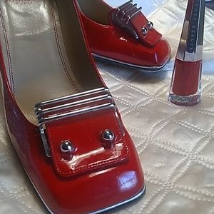 Charles Jourdan Paris Red block heel